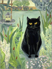 Canvastavla  Black cat in the garden - Deborah Eve Alastra