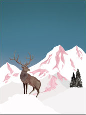Poster  Deer in winter - Mantika Studio