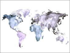 Poster  World map in watercolor - Mantika Studio