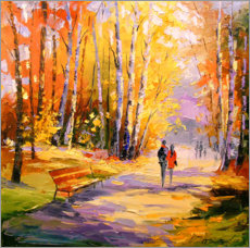 Aluminiumtavla  Autumn walk in the Park - Olha Darchuk
