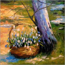 Poster  Basket with snowdrops - Olha Darchuk