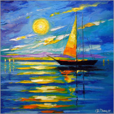Självhäftande poster  Sailboat at sunset - Olha Darchuk