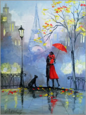 Canvastavla  Kiss in Paris - Olha Darchuk