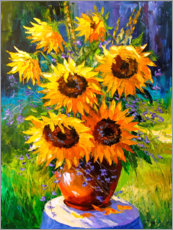 Akrylglastavla  Bouquet of sunflowers - Olha Darchuk