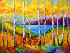 Akrylglastavla  Bright birches by the river - Olha Darchuk