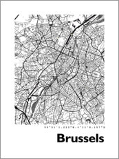 Galleritryck  City map of Brussels - 44spaces