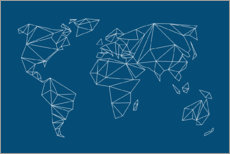 Premiumposter  Geometric world map, blue - Studio Nahili