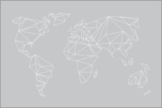 Premiumposter  Geometric world map, gray - Studio Nahili