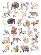 Canvastavla  Animal alphabet (French) - Wandering Laur