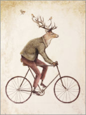 Aluminiumtavla  Deer on the bike - Mike Koubou
