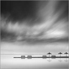 Premiumposter  Benches and umbrellas - George Digalakis