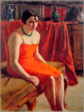 Premiumposter Sitting woman in a red dress