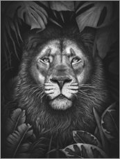Premiumposter Lion in tropical leaves