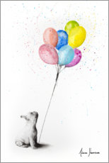 Premiumposter French bulldog with balloons