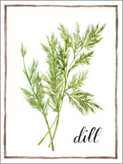 Akrylglastavla  Herbal illustration dill - Grace Popp