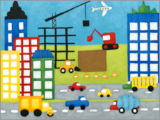 Premiumposter Cars and construction site in the city