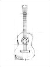 Canvastavla  Guitar Sketch - Ethan Harper