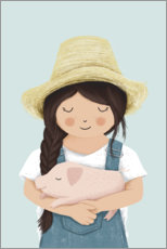 Premiumposter  Girl with piglet - Sandy Lohß
