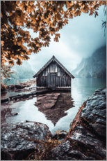 Premiumposter Hut on the Obersee in autumn