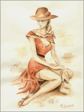 Premiumposter  Elegant lady with hat - Marita Zacharias
