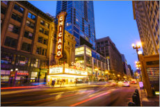 Canvastavla  Chicago Theatre by night - Fraser Hall
