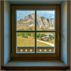 Canvastavla  Window view in the Dolomites - Michael Valjak