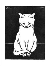 Premiumposter Sitting cat, black and white