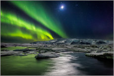 Canvastavla  Moon and aurora borealis