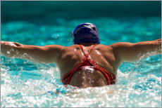 Premiumposter  Butterfly stroke of a young woman