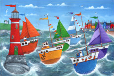 Canvastavla  Lighthouse flotilla rainbow scene - Peter Adderley