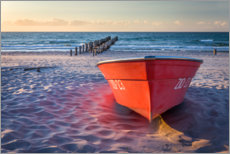 Premiumposter Red boat at the Baltic Sea