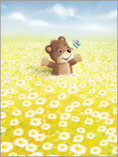 Canvastavla  Bear and butterfly on flower meadow - Stefan Lohr