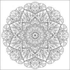 Målarbild  The flower mandala - Heike Langenkamp