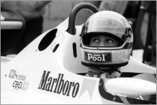 Canvastavla  Ayrton Senna in the cockpit, Silverstone 1983