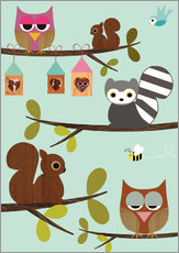 Galleritryck  Happy Tree with cute animals - owls, squirrel, racoon - GreenNest