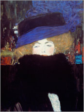 Galleritryck  Lady with Hat and Feather Boa - Gustav Klimt
