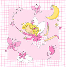 Självhäftande poster  flying fairy with butterflies on checkered background - Fluffy Feelings