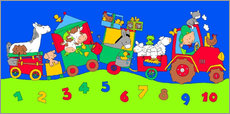 Galleritryck  tractor train with farm animals and numbers - Fluffy Feelings