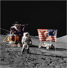 Galleritryck  Apollo 17 astronaut stands near the United States flag - Stocktrek Images