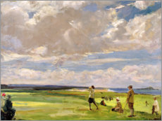 Premiumposter  Lady Astor playing golf on North Berwick - Sir John Lavery