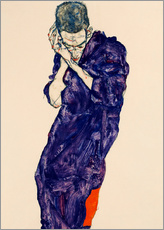 Självhäftande poster  Young Man In Purple Robe - Egon Schiele