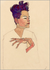 Galleritryck  Self Portrait with Hands on Chest - Egon Schiele