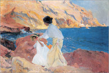 Premiumposter  Clotilde and Elena on the Rocks, Javea - Joaquín Sorolla y Bastida