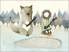 Galleritryck  The little Inuit girl and the wolf - Judith Loske