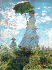 PVC-tavla  Woman with a parasol - Madame Monet and her son - Claude Monet