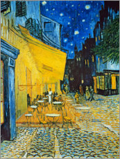Trätavla  Cafe Terrace at Place du Forum, Arles in the evening - Vincent van Gogh