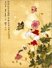 Galleritryck  Poppies and Butterflies - Ma Yuanyu
