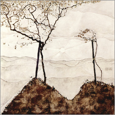 Självhäftande poster  Autumn sun and trees - Egon Schiele