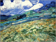 Akrylglastavla  Mountainous Landscape behind Saint-Paul Hospital - Vincent van Gogh