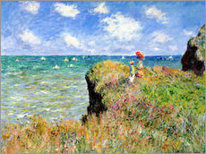 Självhäftande poster  The Cliff Walk at Pourville - Claude Monet